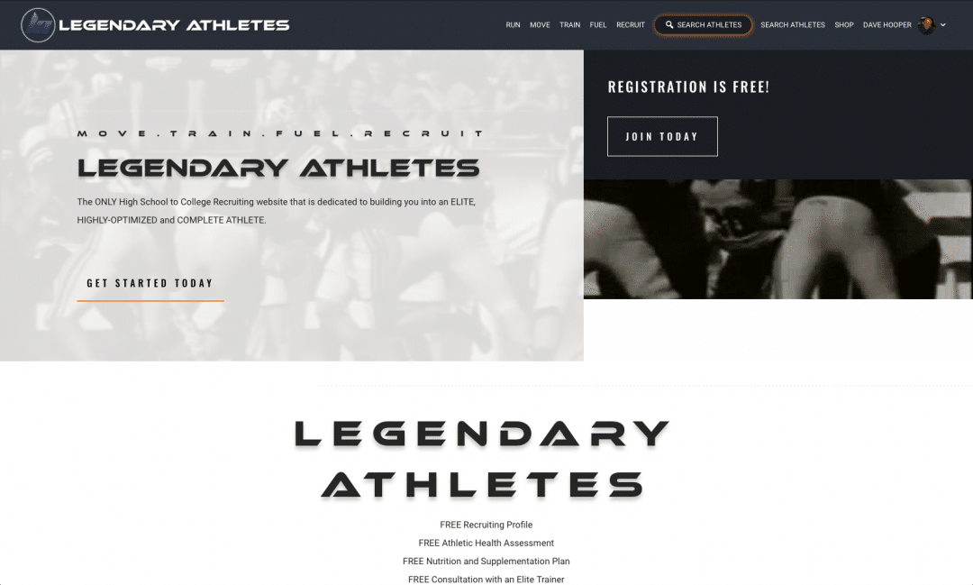 Legendary Athletes Website Screenshot